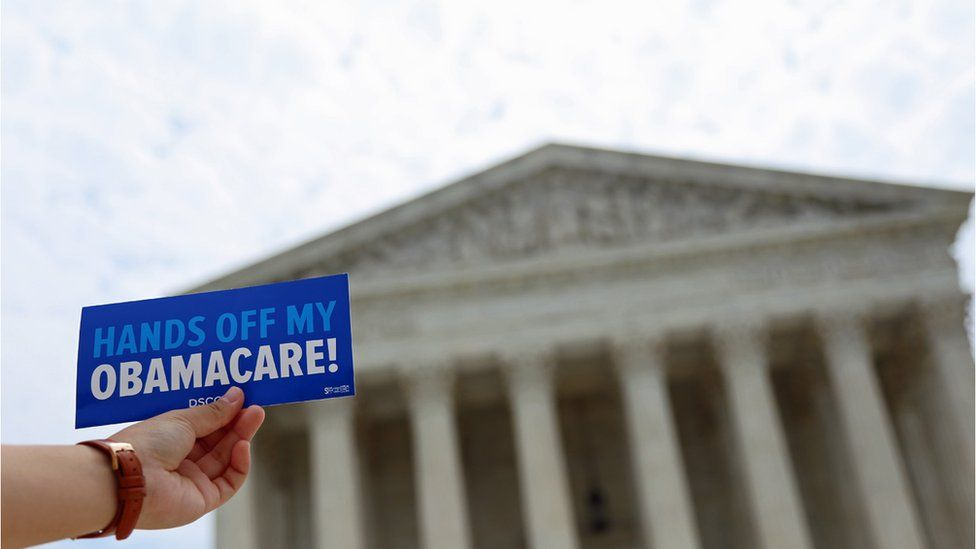 The US Supreme Court upheld a key portion of Mr Obama's healthcare law