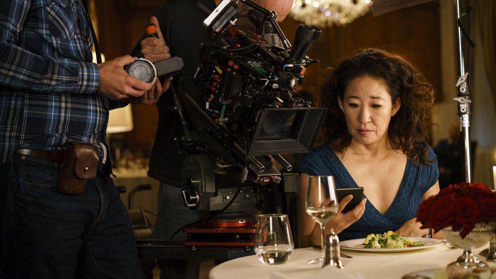Sandra Oh filming Killing Eve