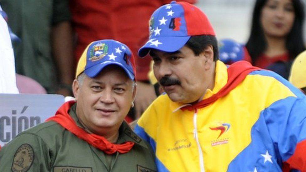 Nicolas Maduro and Diosdado Cabello wave in Caracas on 4 February, 2013