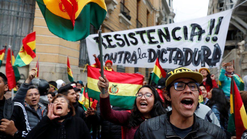 Protesters in La Paz, Bolivia, on Saturday 9 November