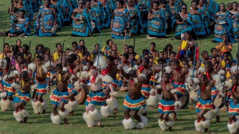 A handout photo made available by Taiwan's Presidential Office shows people performing during Swaziland's celebration of 50th anniversary of independence and King Mswati III's 50th birthday in Manzini, Swaziland, 19 April 2018