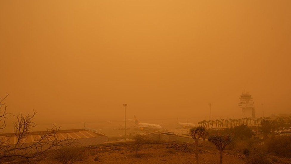 Planes at Tenerife South Reina Sofia Airport during the sandstorm