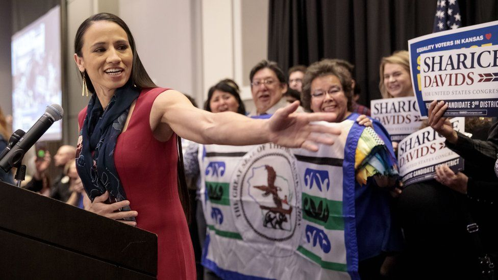 Democratic candidate for Kansas' 3rd Congressional District Sharice Davids speaks to supporters