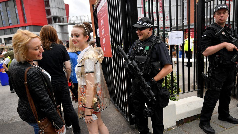 Armed police at Old Trafford cricket ground