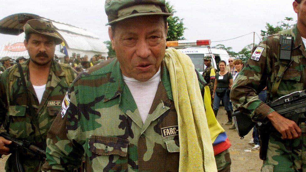 "Manuel ""Sureshot"" Marulanda Velez (C) of the Revolutionary Armed Forces of Colombia (FARC)"