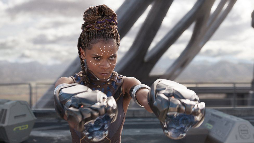 Female warrior in black panther