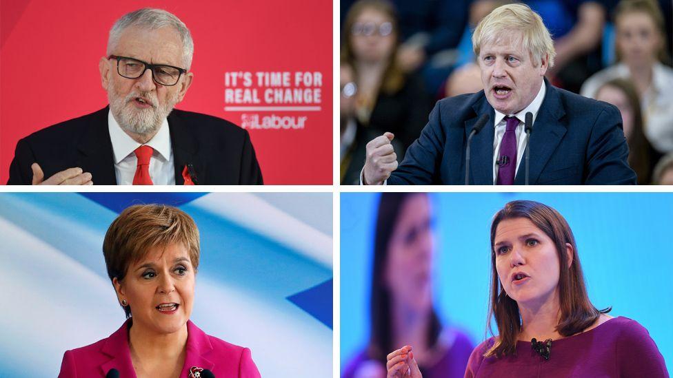 Composite image of Jeremy Corbyn, Boris Johnson, Nicola Sturgeon and Jo Swinson