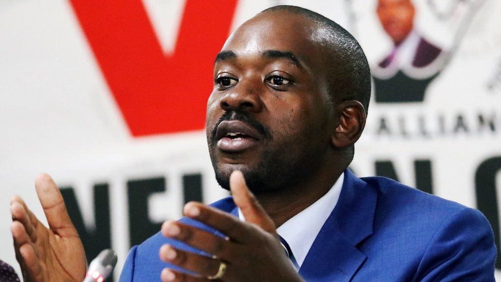 Opposition Movement for Democratic Change (MDC) party leader Nelson Chamisa addresses a media conference in Harare, 29 July 2018