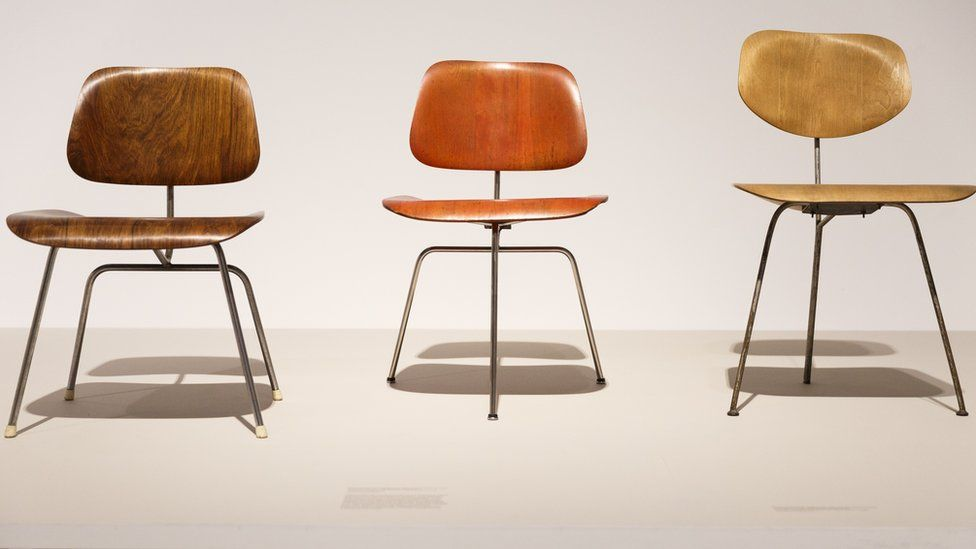 Eames chairs on display at Barbican Art Gallery, London