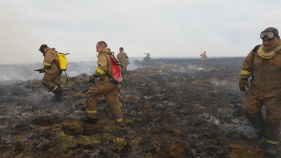Crew from Balintore Fire Station at wildfire