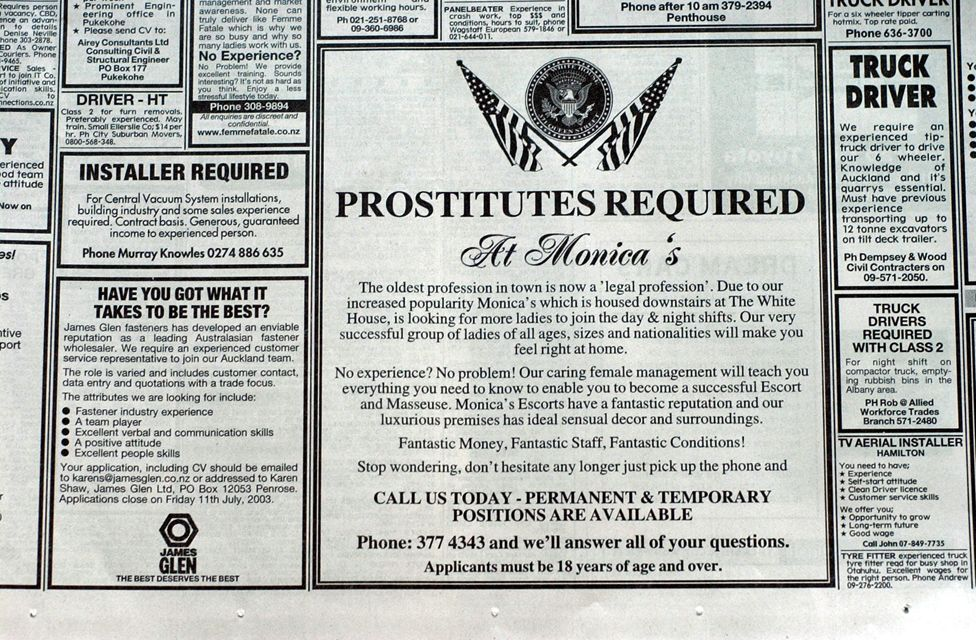 When prostitution was legalised in 2003, job adverts appeared in the press