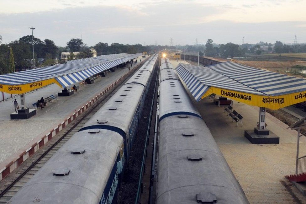 """The railway station is deserted during the """"Bharat Bandh"""" - nationwide strike - called by the Communist Party of India (Marxist), CPI(M) party, in Dharmanagar, in north-eastern Tripura state on November 28, 2016"""