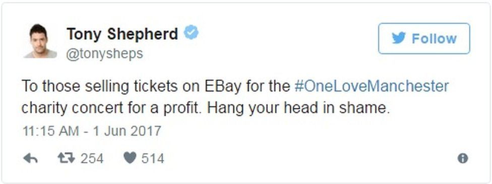 """Tweet: """"To those selling tickets on EBay for the #OneLoveManchester charity concert for a profit. Hang your head in shame."""""""