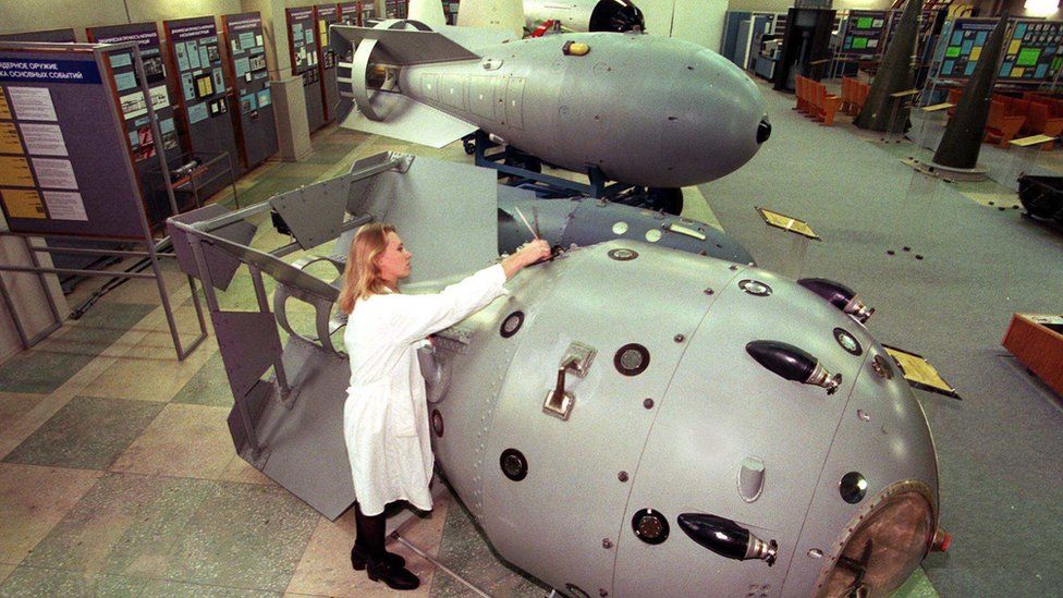 Mock-up of a Soviet nuclear bomb displayed at the Sarov factory museum