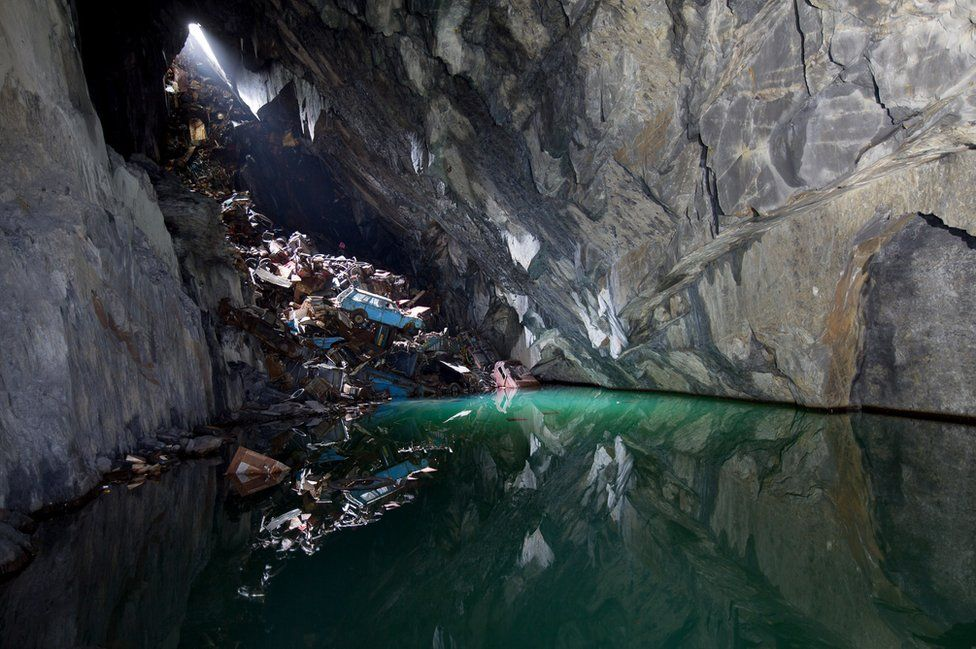 Cars in a Welsh mine