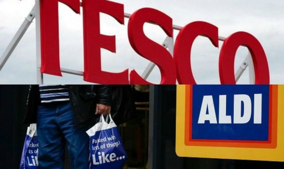 Tesco and Aldi signs