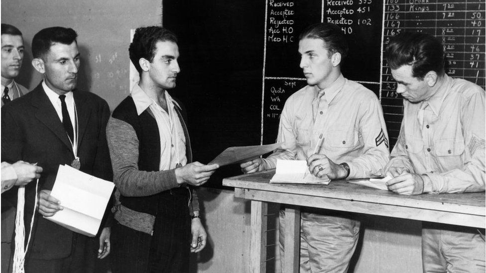 Draftees report for physical examination in 1941