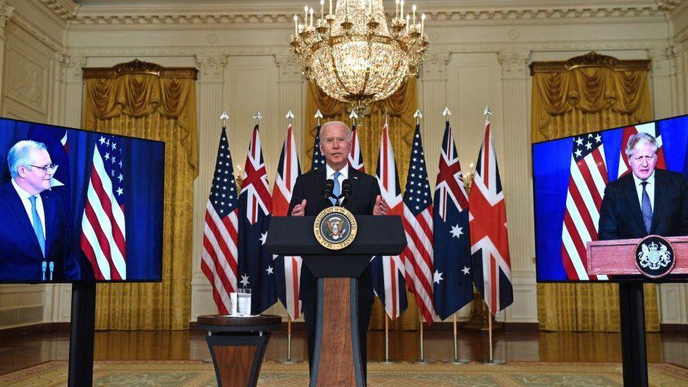 US President Joe Biden speaks on national security with British Prime Minister Boris Johnson and Australian Prime Minister Scott Morrison