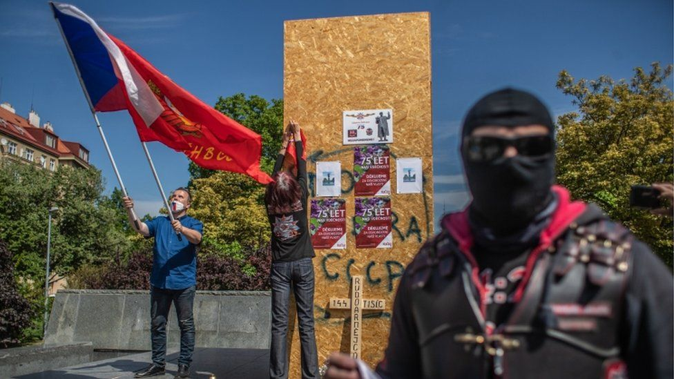 """Czech members of motorcycle club """"Night Wolves"""" attend a wreath laying ceremony in front of former pedestal for the monument of Soviet era World War II Commander Ivan Konev on the 75th anniversary of Victory Day in Prague, Czech Republic, 08 May 2020"""