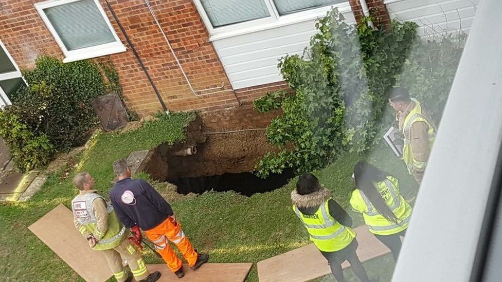 Sinkhole at Cedar Court, St Albans