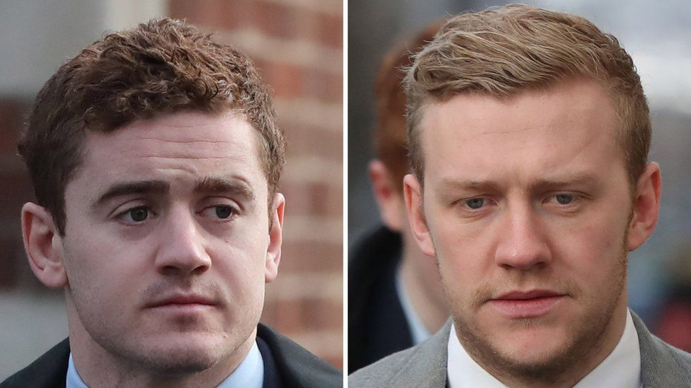 Ireland and Ulster rugby players Paddy Jackson (left) and Stuart Olding