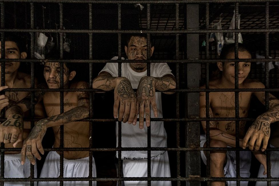 Tattooed gang members stand in their holding cells at Bartolinas Policiales de Lourdes, Colon, San Salvador. 28 September 2019