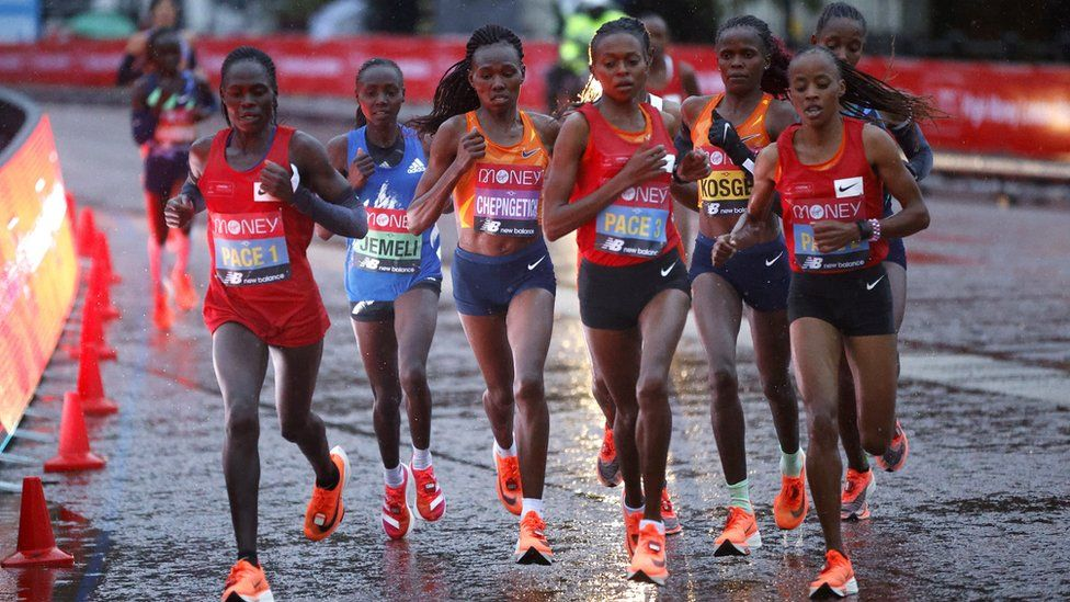 Women runners in action during the London Marathon on 4 October 2020