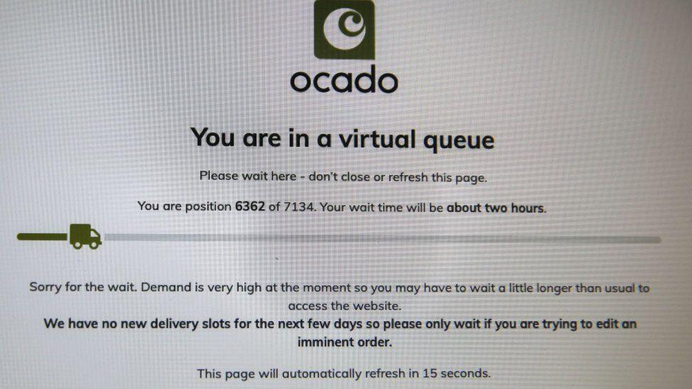 Ocado virtual queue screenshot