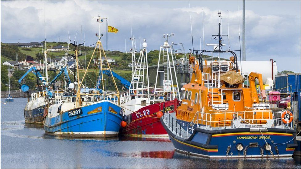 Lifeboat and fishing trawlers in Campbeltown