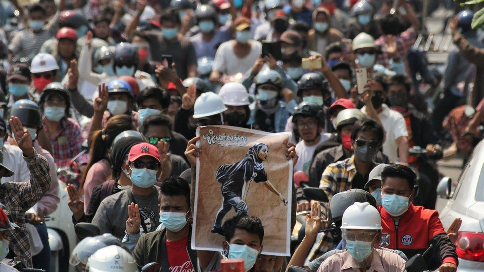 People attend the funeral of Angel a 19-year-old protester
