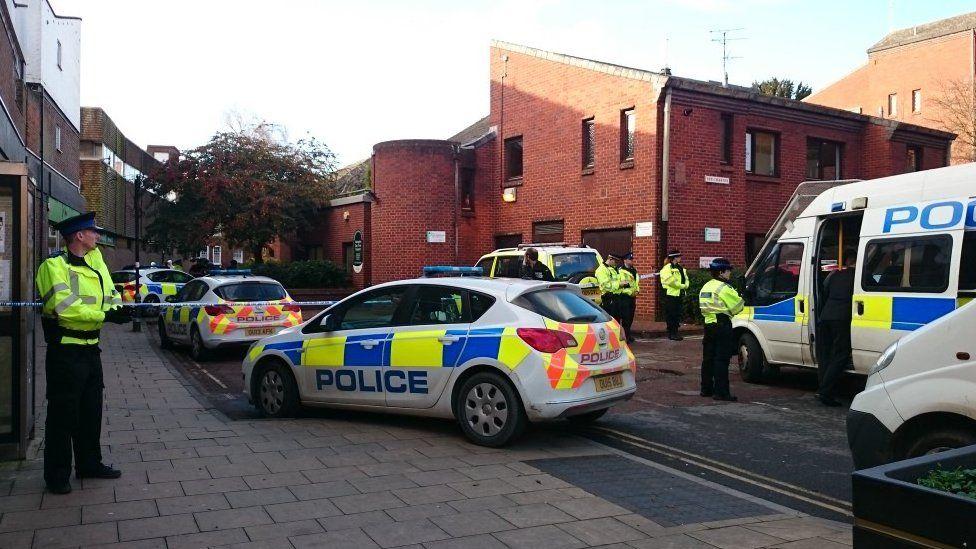 Police at the scene or the stabbing in Abingdon