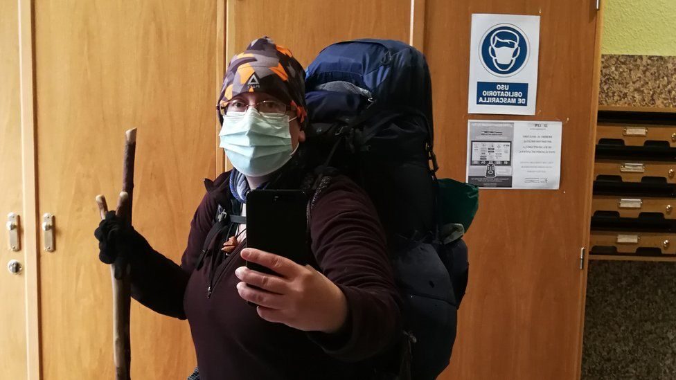 Ursula had to wear a mask while walking through Spain because of the pandemic