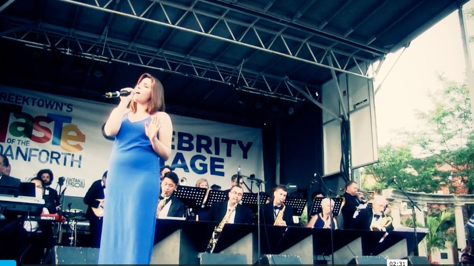 Victoria Leone performing with the Sheraton Cadwell Orchestras in Toronto