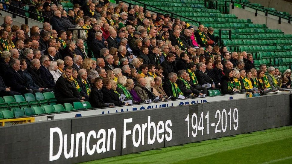 Duncan Forbes' family were joined by club staff and fans at a public funeral service.