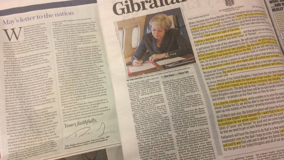 The prime minister's letter as it appeared in Sunday newspapers