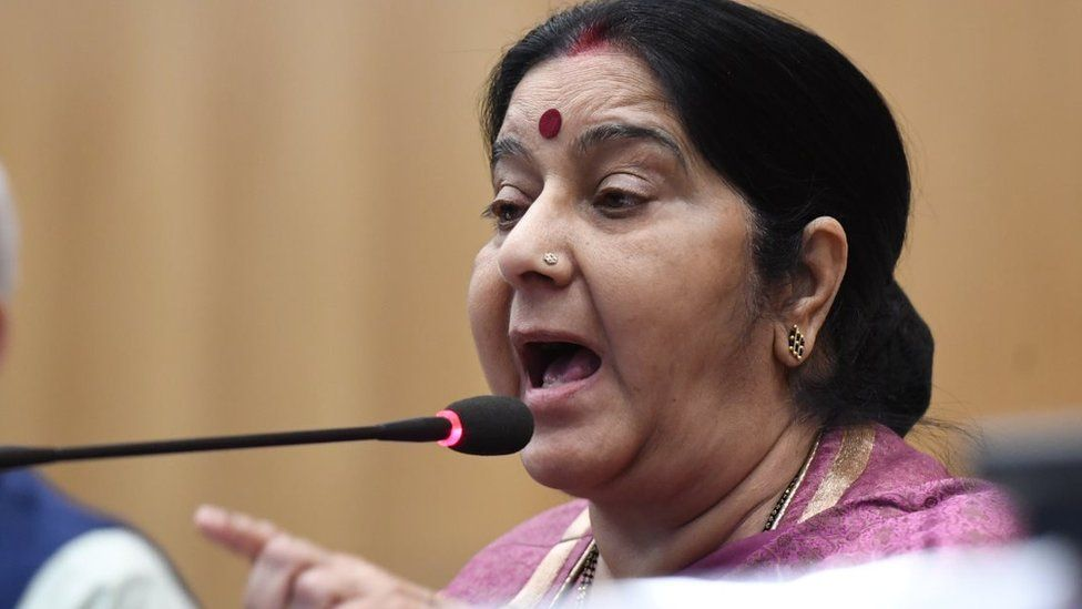 Indian External Affairs Minister Shushma Swaraj addresses a press conference in New Delhi on March 20, 2018
