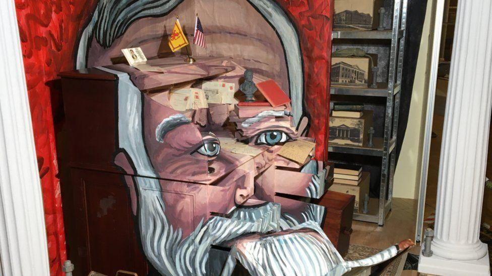 Artist using 3D installation to create Andrew Carnegie portrait