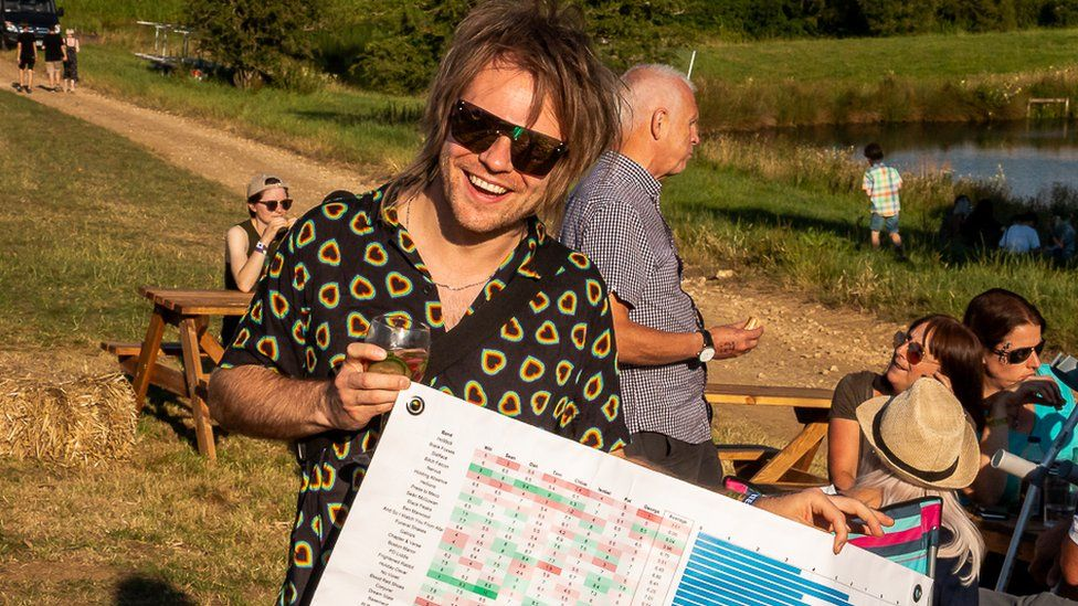 Rou Reynolds holds a giant spreadsheet