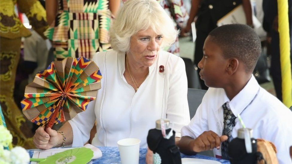 The Duchess of Cornwall meets students at a Commonwealth Big Lunch at the Ghana International School (G.I.S.) Junior Site, in Accra, Ghana, on day six of her trip to west Africa with the Prince of Wales.