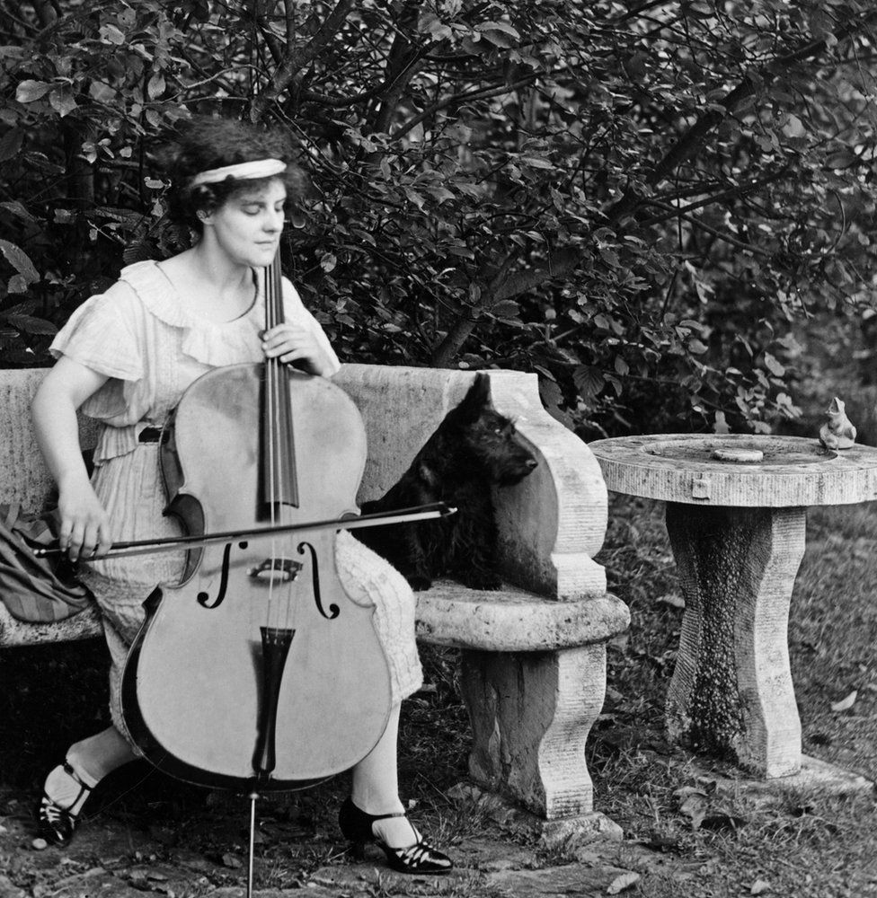 Beatrice Harrison playing the cello in her garden