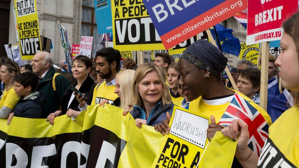 Justine Greening at a rally calling for another referendum