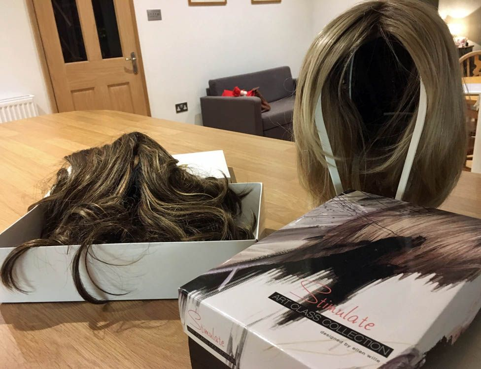 Carly's two wigs, Betty and Brunetti