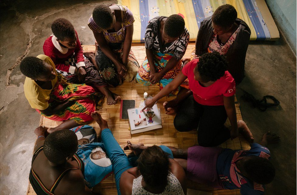 A group of women receive contraception education
