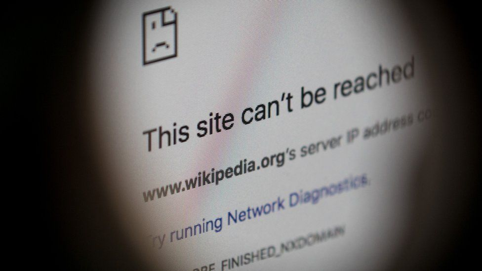 An error message for the blocked Wikipedia website page is seen on a computer screen on 23 March 2018 in Istanbul, Turkey