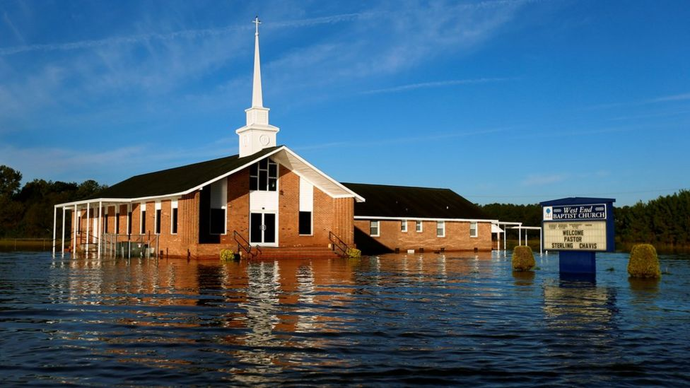 A flooded church is pictured after Hurricane Matthew passes in Lumberton, North Carolina, U.S., October 11, 2016.