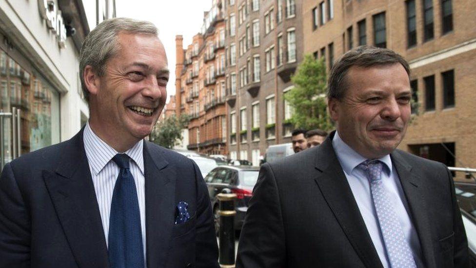 Nigel Farage (left) and Arron Banks (right)
