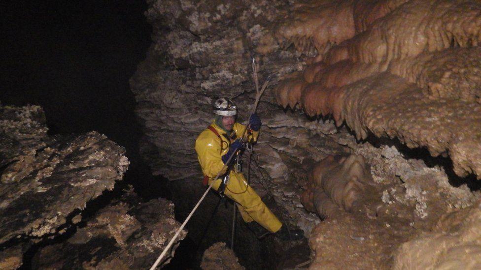 The international caving team underground