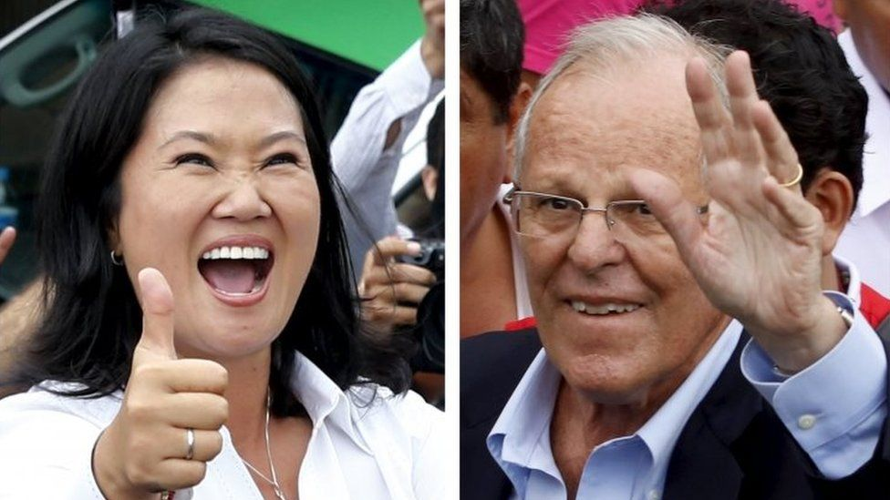 A combination file photo shows Peru's presidential candidates (L-R) Keiko Fujimori after voting and Pedro Pablo Kuczynski arriving to vote, during the presidential election in Lima, Peru, in these April 10, 2016 file photos