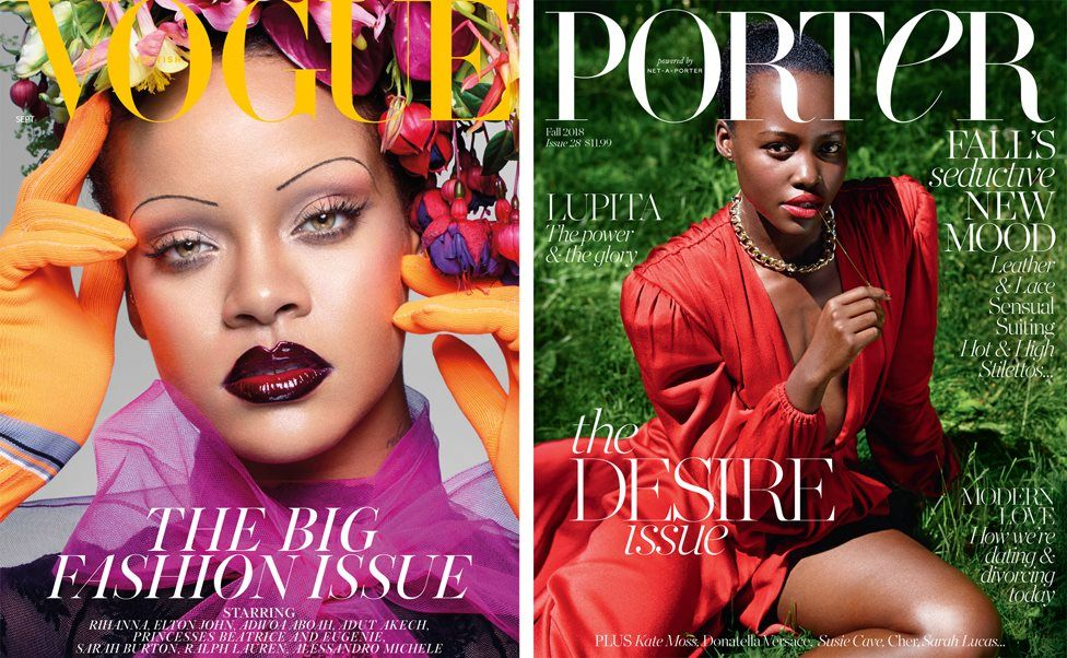 British Vogue front cover featuring Rihanna and Porter magazine front cover featuring Lupita Nyong'o