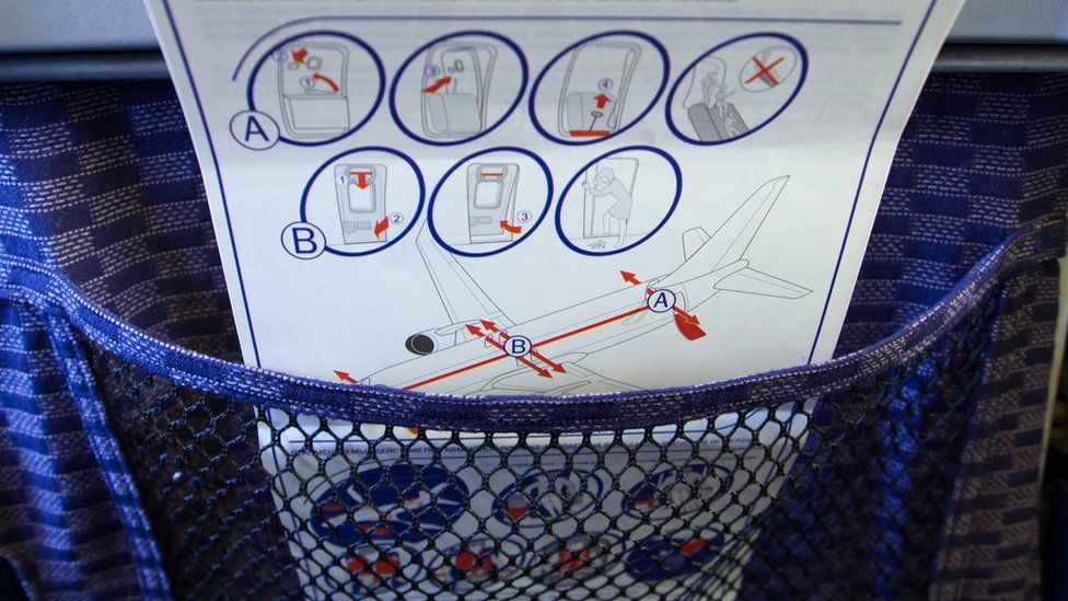An aeroplane safety card explaining how to exit the